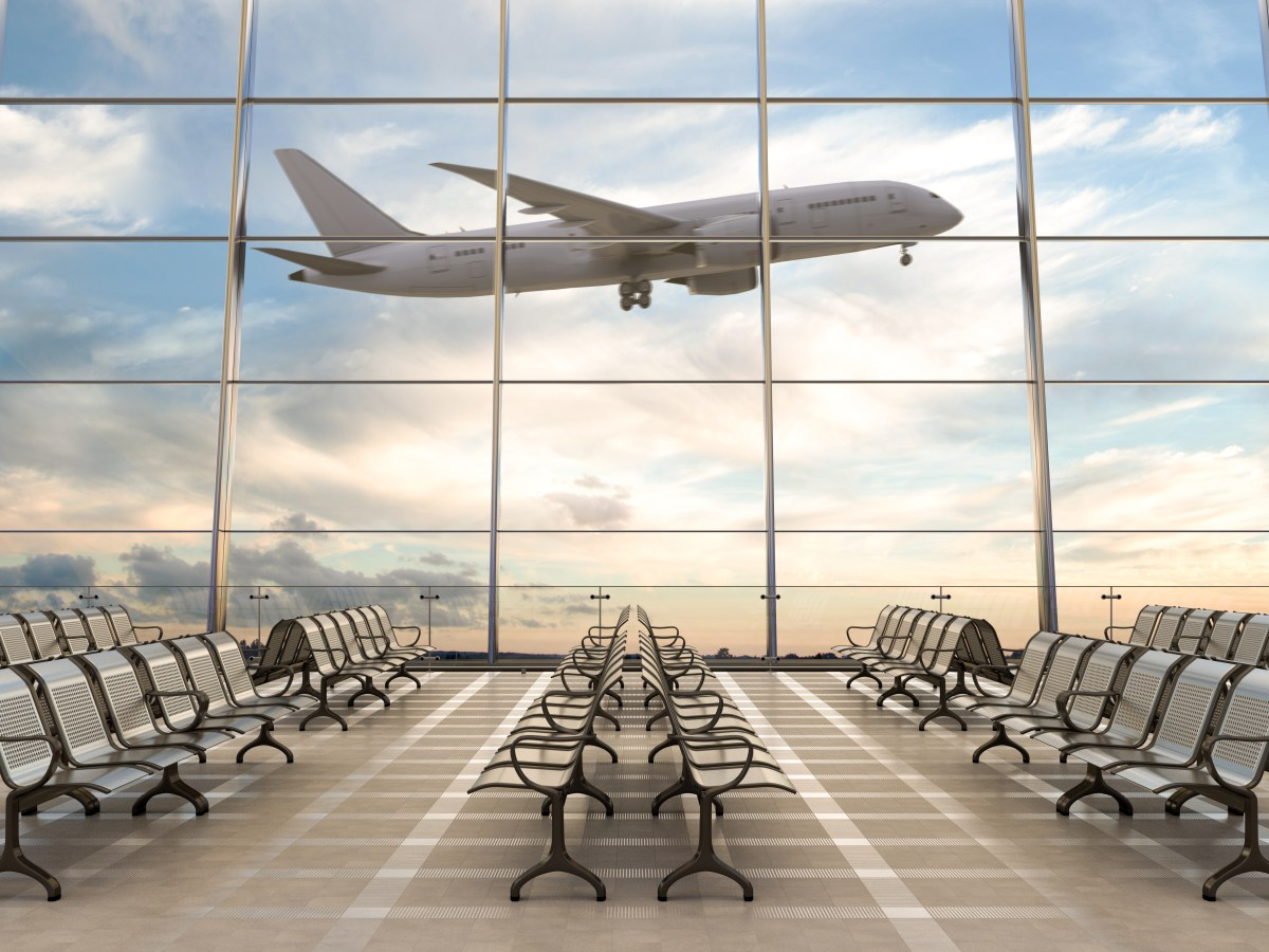 Empty,Airport,Terminal,Lounge,With,Airplane,On,Background.,3d,Illustration