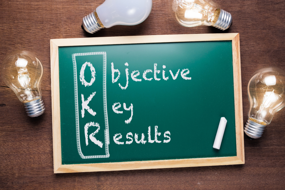 Okr,Or,Objective,Key,Results,Acronym,Text,On,Chalkboard,With